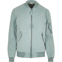 River Island Light Blue Washed Bomber Jacket