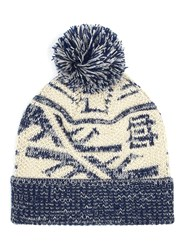 Topman Multi Navy And Cream Patterned Bobble Beanie Hat