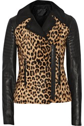 A.L.C. Lee Leopard Print Calf Hair And Leather Biker Jacket Animal Print