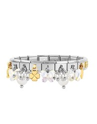 Nomination Classic Bright Charms Gold And Stainless Steel Bracelet W Crystals And Pearls Silver