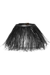 Valentino Feather And Leather Choker Black