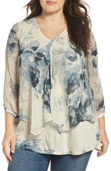 Lucky Brand Plus Size Women's Floral Print Mixed Media Top