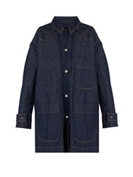 Maison Martin Margiela Point Collar Patch Pocket Denim Coat Indigo