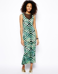 Monki Printed Bodycon Dress With Mesh Inserts Multi