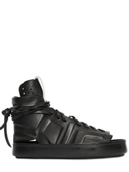 Artselab Open Toe Leather High Top Sneakers
