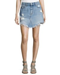 7 For All Mankind Distressed Mini Skirt W Scallop Raw Hem White