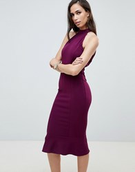 Girl In Mind High Neck Frill Hem Midi Dress Purple