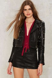 Nasty Gal Collection Bull In The Heather Leather Moto Jacket Black