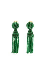 Oscar De La Renta Bead Embellished Tassel Drop Clip On Earrings Green