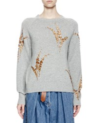 Dries Van Noten Jackleen Embroidered Cashmere Sweater Gray Gold Grey Gold