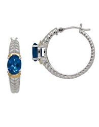 Lord And Taylor Blue Topaz Sterling Silver And 14K Yellow Gold Hoop Earrings