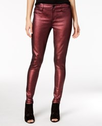 Tinseltown Juniors' Metallic Coated Skinny Jeans Burgundy