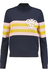 Emilio Pucci Appliqued Striped Ribbed Knit Sweater Midnight Blue