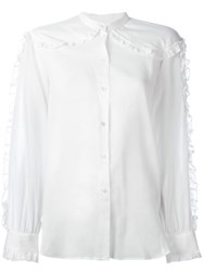 Masscob Collarless Ruffled Detailing Shirt White