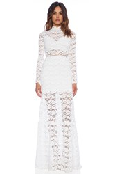 Nightcap Dixie Lace Long Sleeve Gown White