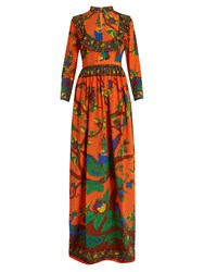 Gucci Jubilee Print Mandarin Collar Silk Gown Orange Multi