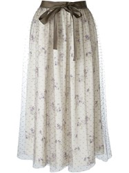 Red Valentino Floral Embellished Mid Skirt Nude And Neutrals