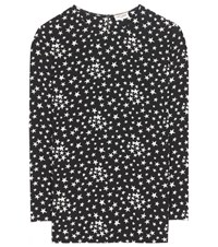 Saint Laurent Printed Silk Blouse Black