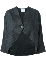 Societe Anonyme Pinstripe Cropped Jacket Black