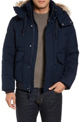 Marc New York Men's Down Herringbone Jacket With Genuine Coyote Fur Trim Ink