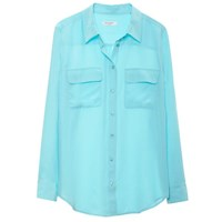Equipment Slim Signature Blouse Light Teal