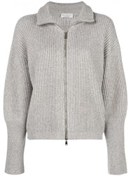 Brunello Cucinelli Zip Up Cardigan Grey