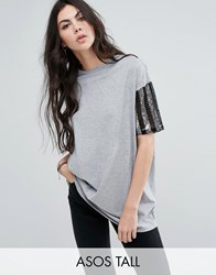 Asos Tall T Shirt With Stripe Sequin Sleeve Multi Grey