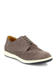 Giorgio Armani Perforated Suede Derby Shoes Anthracite