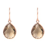 Latelita London Petite Drop Earring Smokey Quartz Rosegold Rose Gold Brown Nude