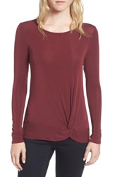 Trouve Women's Knot Front Tee Burgundy Field