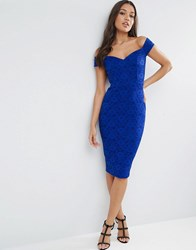 Asos Lace Sweetheart Bardot Midi Bodycon Dress Cobalt Blue