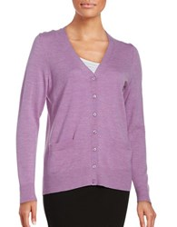 Lord And Taylor Merino Wool Button Front Cardigan Freesia Heather