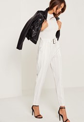 Missguided Pinstripe Cigarette Trousers White White