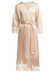 Icons Cyclamen Lace Trimmed Silk Robe Light Pink