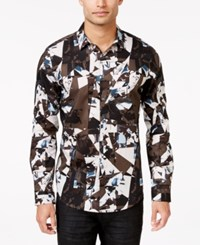 Inc International Concepts Men's Vostak Abstract Print Long Sleeve Shirt Only At Macy's Taupe