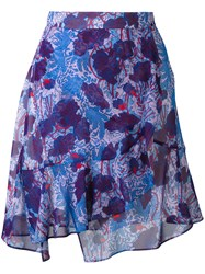 Carven Printed Wrap Skirt Women Silk Polyester Acetate 36 Blue