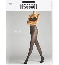 Wolford Amira Patterned Opaque Tights Midnight Black