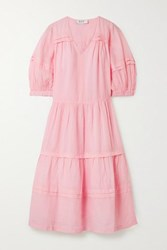 Sea Lucy Tiered Ramie Midi Dress Pastel Pink