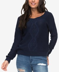 Roxy Juniors' Cable Knit Boat Neck Sweater Black