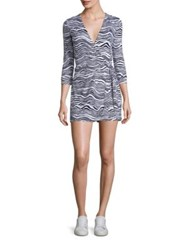 Diane Von Furstenberg Celeste Two Silk Wrap Romper Wave Deep Night
