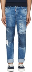 Dsquared Blue Paint Splatter Jeans
