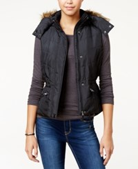 American Rag Faux Fur Trim Hooded Puffer Vest Only At Macy's Classic Black
