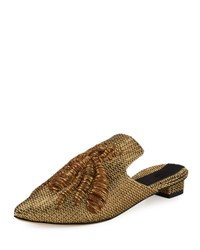 Sanayi313 Ragno Embroidered Mule Slide Gold