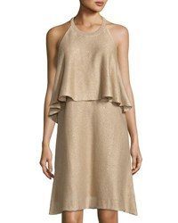 Brunello Cucinelli Linen Blend Popover Dress Light Brown