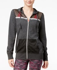 Material Girl Active Juniors' Mesh Zip Up Hoodie Only At Macy's Heather Charcoal