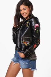 Boohoo Boutique Studded Embroidered Jacket Black