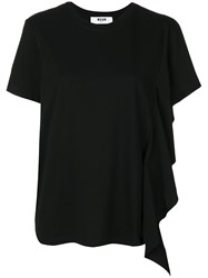 Msgm Single Frilled Sleeve T Shirt Women Cotton S Black