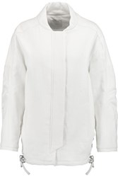 Iro Halow Leather Trimmed Linen And Cotton Blend Coat White