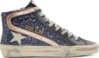 Golden Goose Blue Glitter High Top Sneakers
