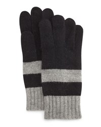 Portolano Rugby Stripe Knit Gloves Black Light Heather Gray